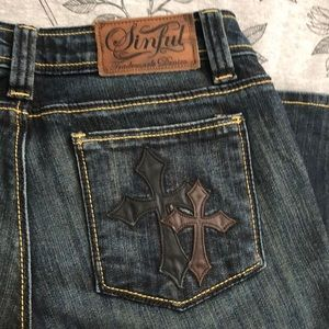 Sinful Denim Jeans Size 27 x 34 w/ Leather Crosses